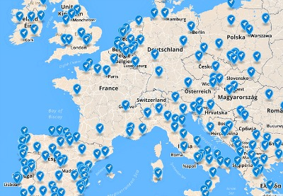 Startup Europe Week Map showing the cities organising events - Click To See More